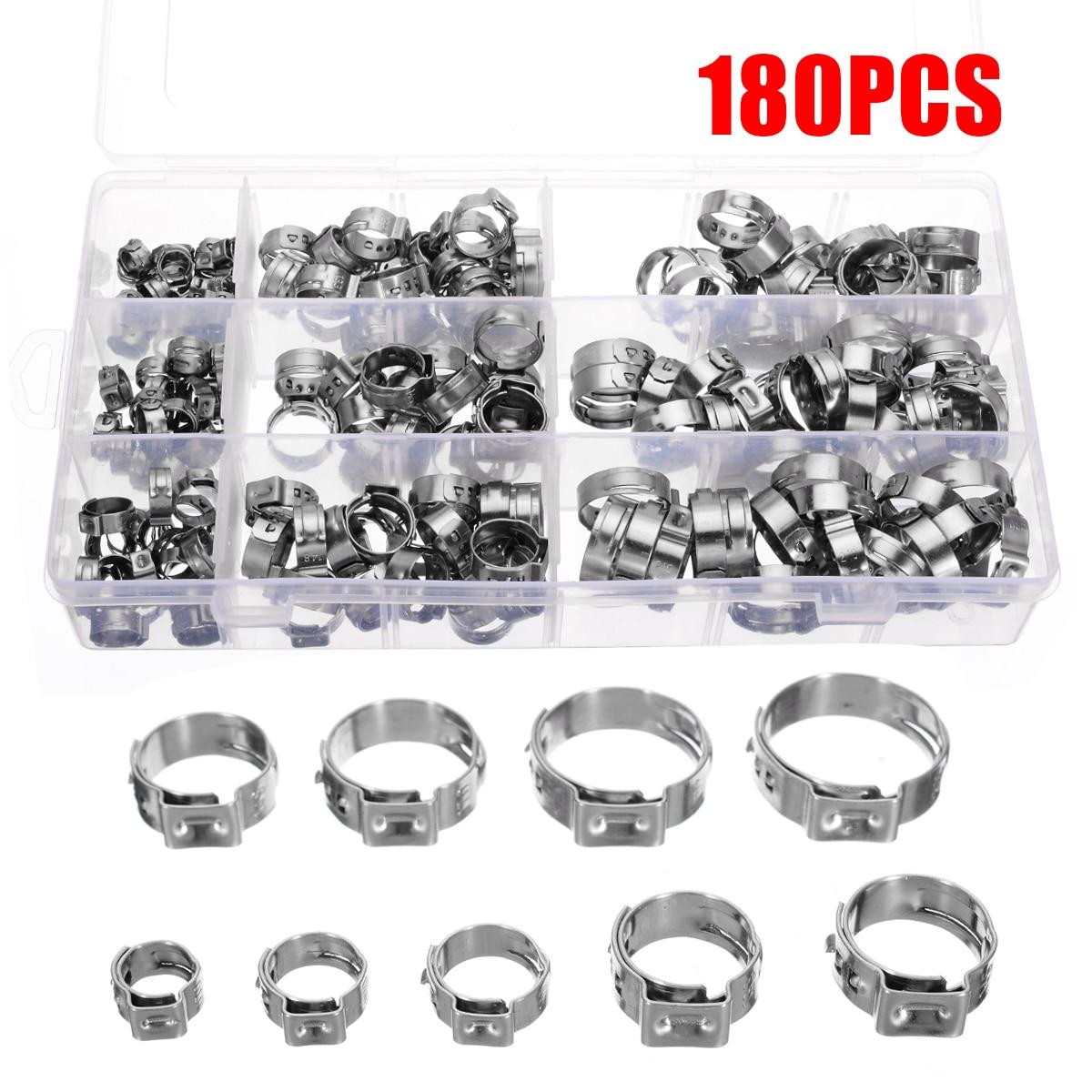 180 pièces/kit en acier inoxydable simple oreille tuyau pince collier de serrage assortiment Kit oreille Stepless anneaux de serrage pince à sertir Fit 5.8-21mm