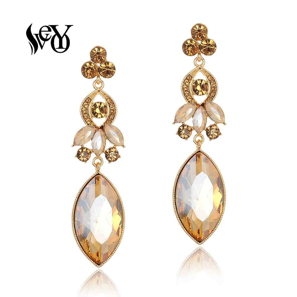 VEYO Horse eye Luxury Crystal Drop Earrings Fashion Jewelry Elegant Long Earrings for Women