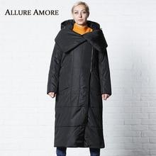 Winter Jackets Female Womens Parka Long Jacket Removable Hooded Woman Shawl Collar Coat Puffer Coats Women AllureAmore