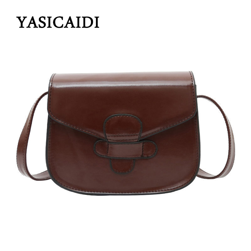 9a9ce343a1 En Pu Cuir Haute Sac Yasicaidi Black D'huile Femmes brown Messenger Sacs  Qualité Main Bandoulière ...