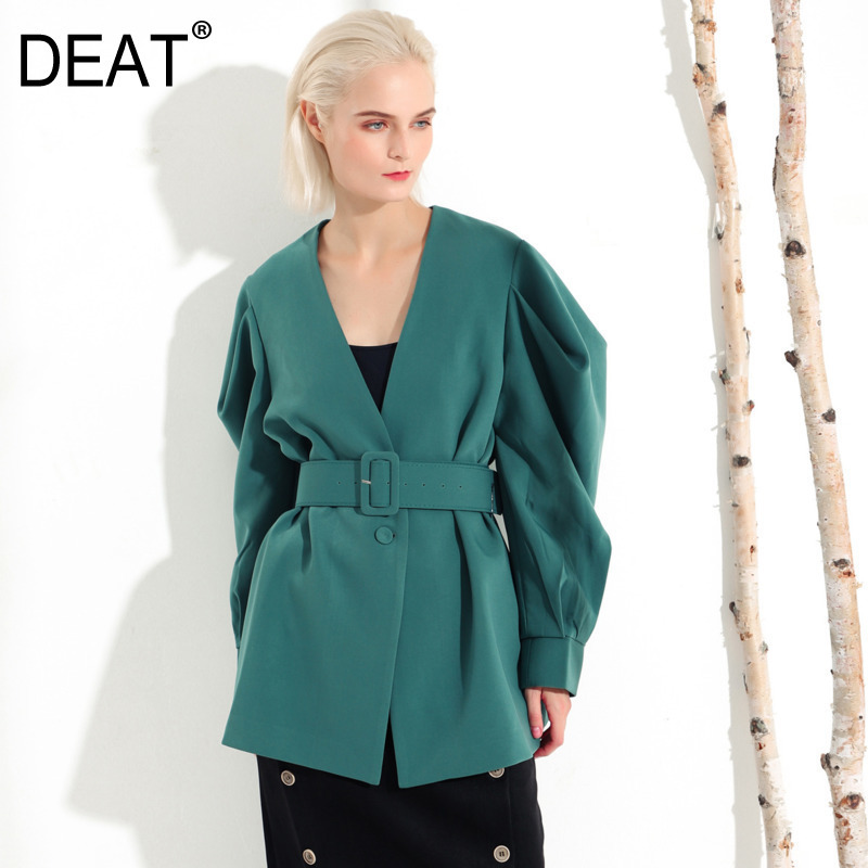 DEAT 2019 new spring fashion women clothes V neck court styles lantern sleeves waist jacket wide