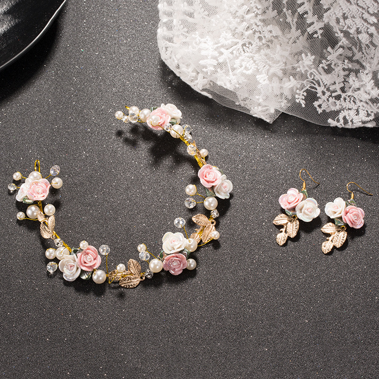 Earrings-Sets Flower Wedding-Headdress Rhinestone Ceramic Soft-Chain-Accessories Pearl