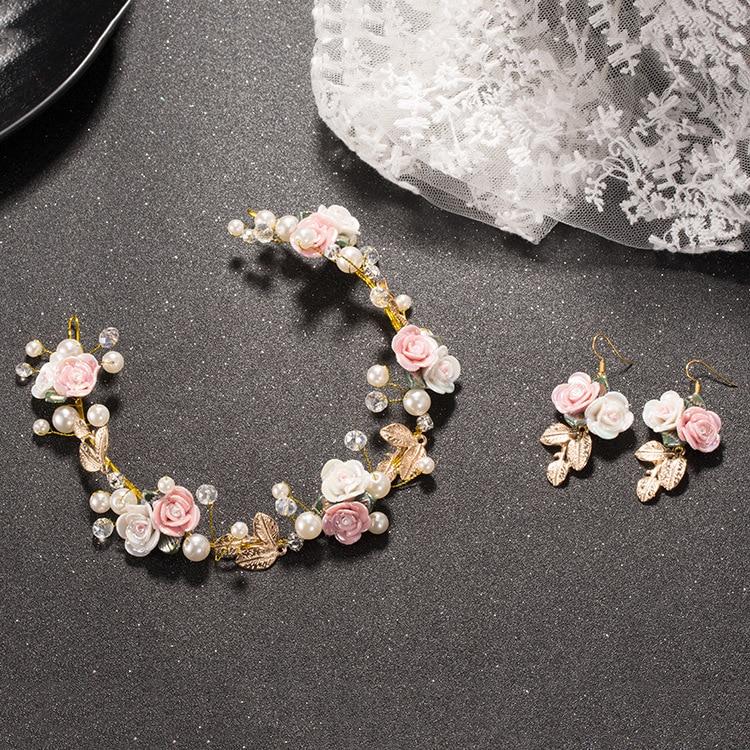 Earrings-Sets Flower Wedding-Headdress Rhinestone Ceramic Soft-Chain-Accessories Pearl