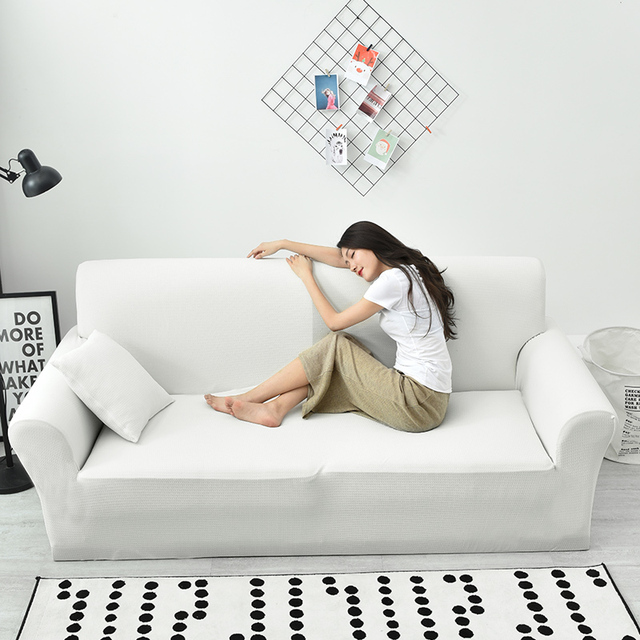 White Waterproof Stretch Sofa Slipcover 1 Piece Stretchable Fabric Couch Cover Flocked Pattern Ed
