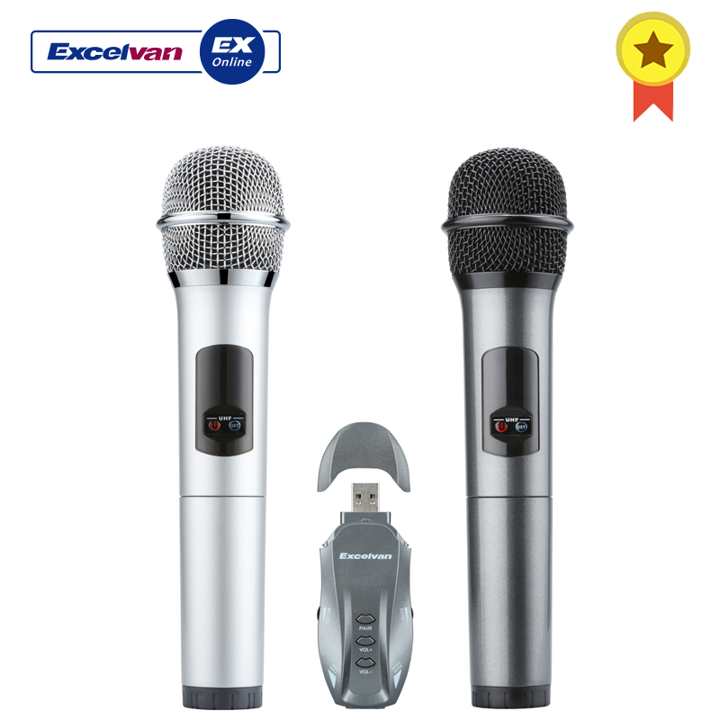 Adaptable Excelvan K18-u Wireless Microphone Professional Bluetooth Two Handheld Microphone With Receptor 10 Channels Led Display Easy To Lubricate