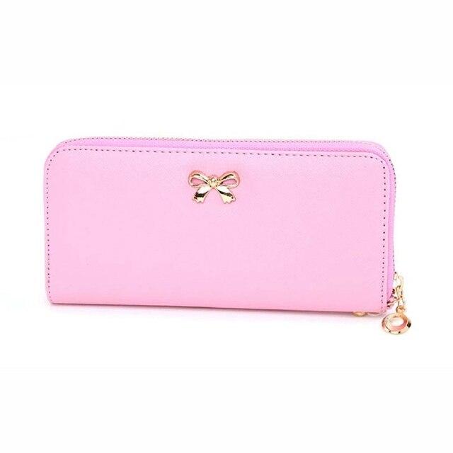DE MODA DE COREA Bowknot Lindo bolso sólida portátil cartera para las mujeres