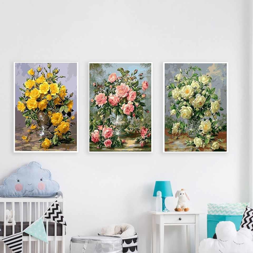 AZQSD النفط اللوحة زهرة في زهرية الطلاء بواسطة أرقام الطلاء زهرة DIY بها بنفسك قماش صورة رسمت باليد ديكور المنزل SZYH6310