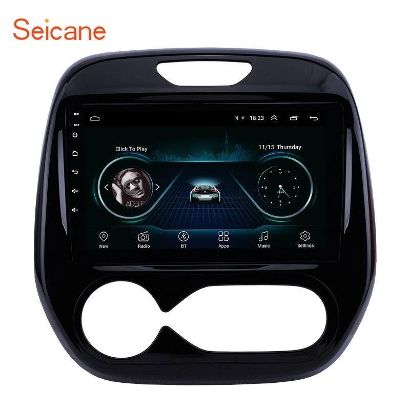 Jogador dos multimédios do carro da tela táctil de 9 polegadas do ruído de seicane autoradio 2 para renault captur clio samsung qm3 manual a/c 2011-2016