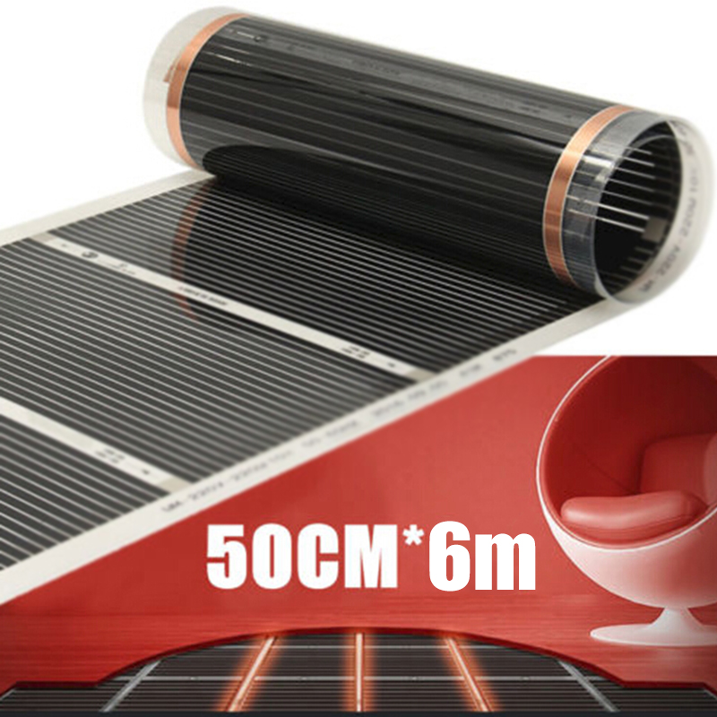 60° Electric Home Floor Infrared Underfloor AC 240V Heating Warm Film Mat 0.5x2m