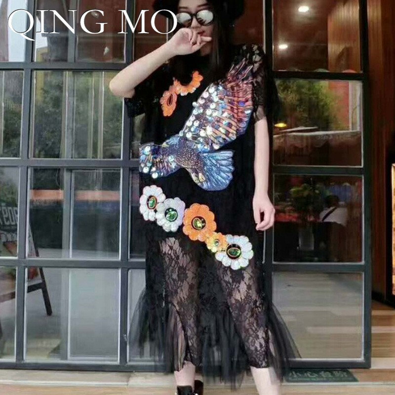 QING MO Sequin Eagle Dress Women Holes Lace Dress Women Flower Short Sleeve Dress Black Long Patchwork Summer Clothing ZLDM111(China)