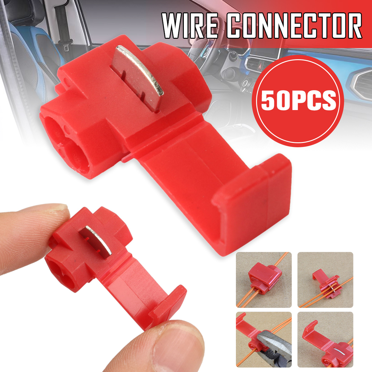 50x Lock Wire Electrical Cable Connector Red Insulated Quick Splice Terminals Crimp For Car Electrical Crimp Cable Snap