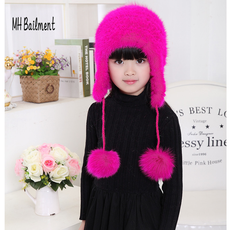 New Fashion Children Mink Knitted Hat Fox Fur PomPoms Ball Hats Girls Boys Autumn Winter New Warm Rose Red Beanies Caps H#26