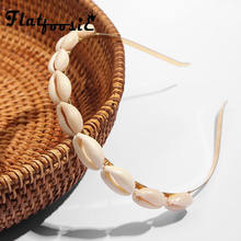 Flatfoosie-diademas de conchas de moda para mujer, aros para el pelo con cuentas para mujer, aros bohemios para el pelo para mujer, regalos de joyería