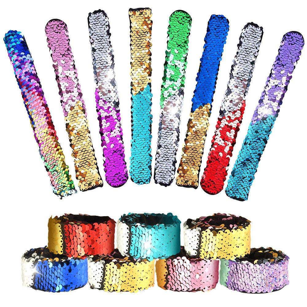16 Pcs Mermaid Sequin Snap Bracelets Set 2 Color Magic Glitter Reversible Charm Sequins Flip Wristband Party Favor Slap Bracelets for Girls Boys Kapmore Mermaid Slap Bracelets
