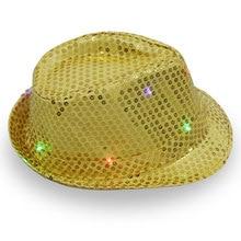Trilby Jazz Cowboy Hat Light Up Falshing Fedora Cap Sequin(China) df7d3c6dcfa8