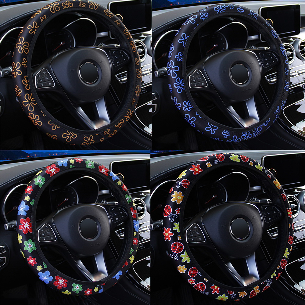 LEEPEE Anti-slip Car Styling Interior Accessories Elastic Flowers Print Steering Covers Universal(China)