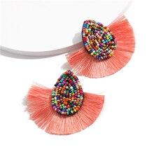 Vintage Tassel Sector Earrings Color Drops Rhinestones Fringe Pendant Bohemian Colorful girl Fashion Statement Jewelry
