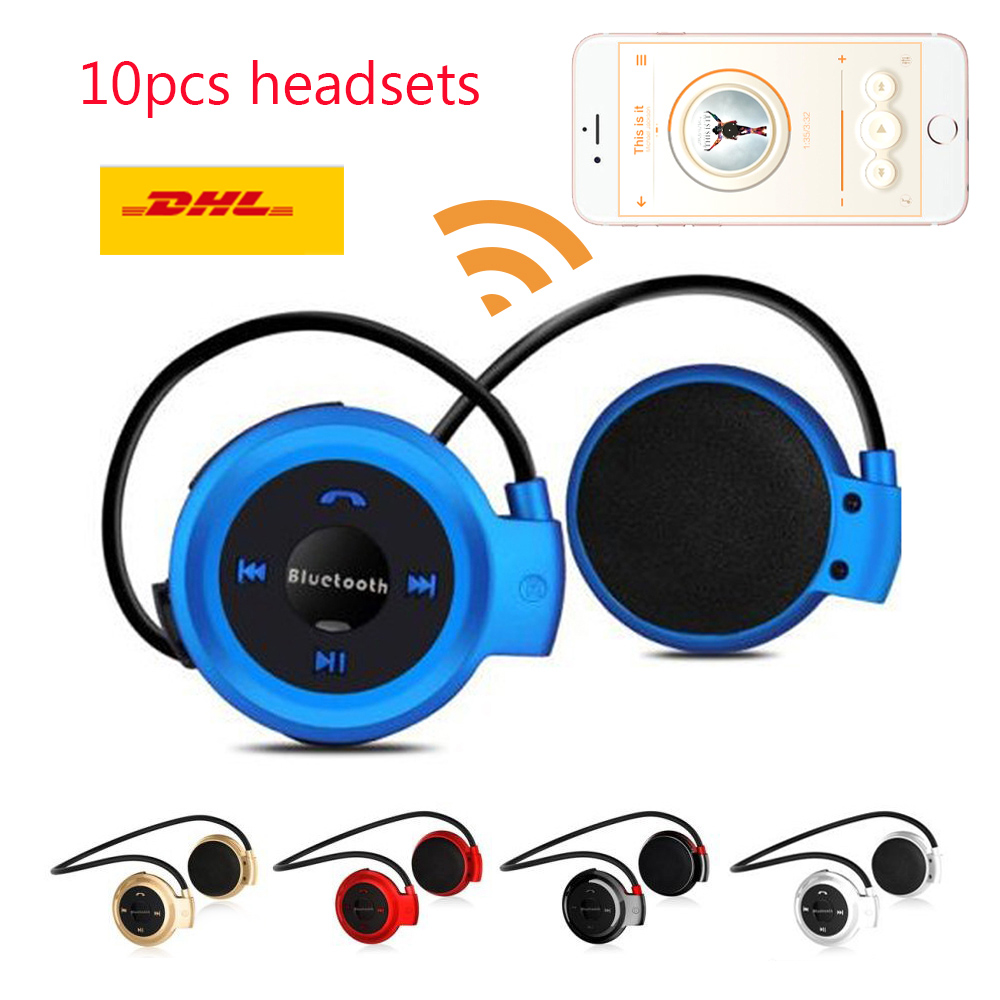 DHL Ship 10pcs Mini Bluetooth Headphone Sport Headset MP3 Player Wireless Stereo Support TF Card FM