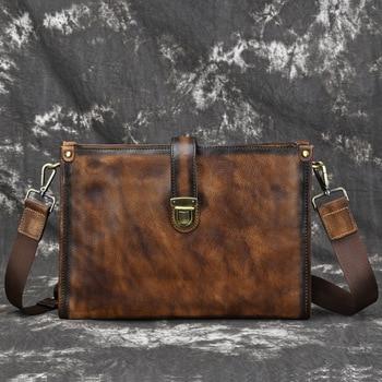 High Quality Natural Skin Tote Handbag Retro Male Top Handle Travel Bags Genuine Leather Men Cross Body Shoulder Briefcase Bags