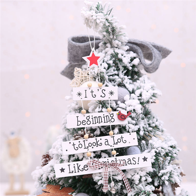 Amawill Wooden Mini Christmas Tree Ornaments Snowflake Star Santa Claus Boots Hanging Wooden Ornaments Xmas Decorations 7D