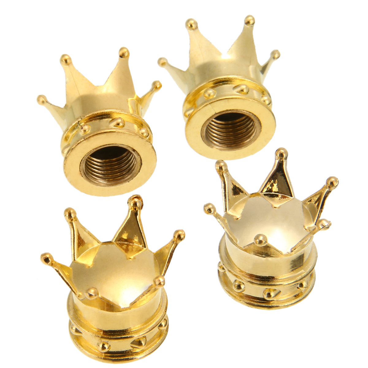 4Pcs/Set Crown Bicycle Tyre Wheel Stem Air Valve Caps Tire Valve Gold For Auto Truck Bike Car Cycling Accessories
