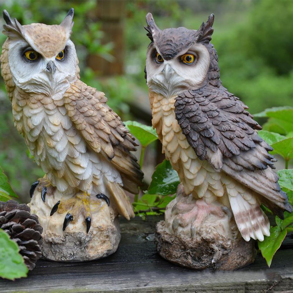 Simulate Owl Shape Decoy Realistic Adornment for Garden Birds Outdoor Decoration