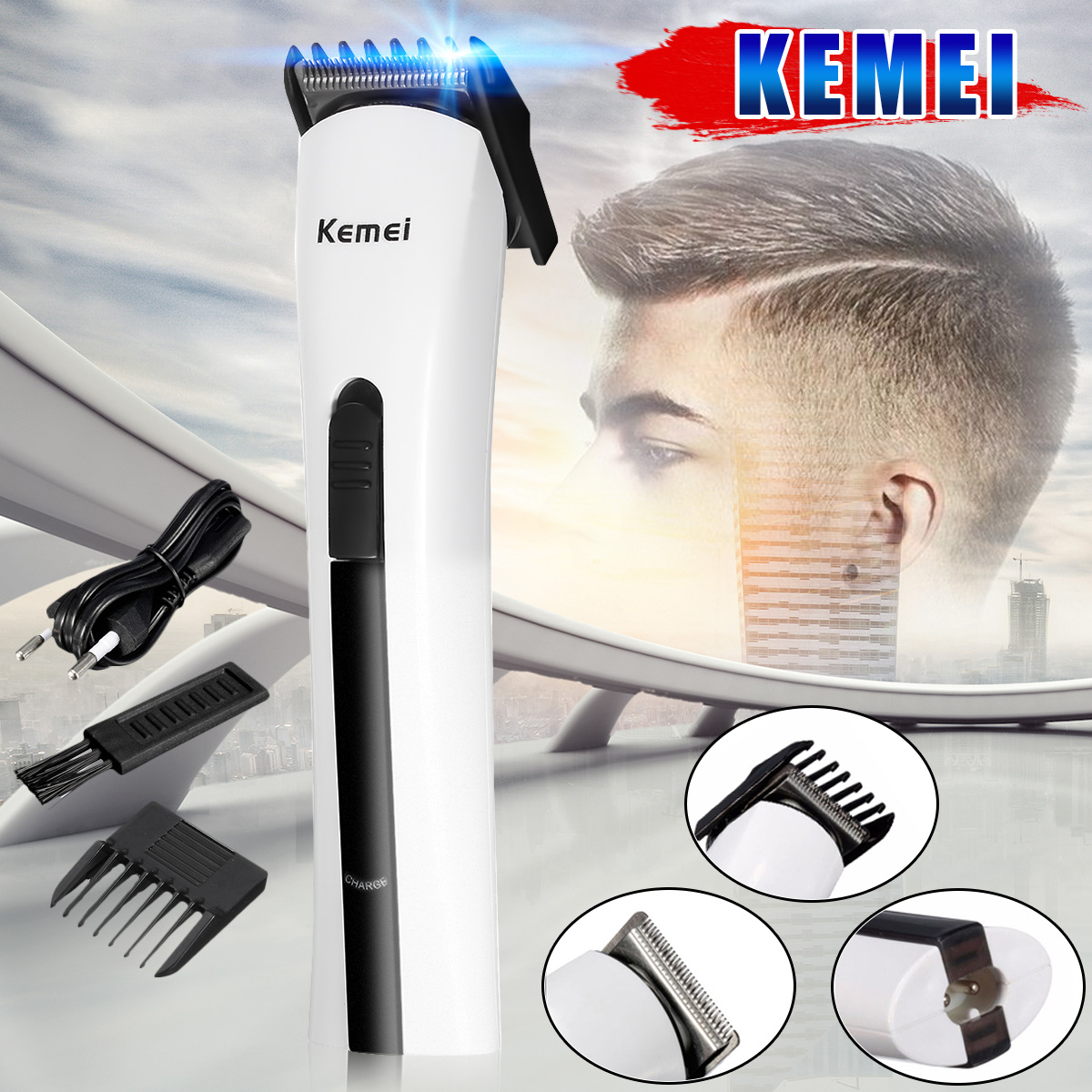 Kemei KM-2516 Rechargeable Hair Trimmer Men Electric Shaver Razor Beard Hair Clipper Cutting Trimmer Grooming kemei km 680a 5in1 rechargeable electric hair shaver clipper cutting machine razor barber beard hair trimmer haircut cordless
