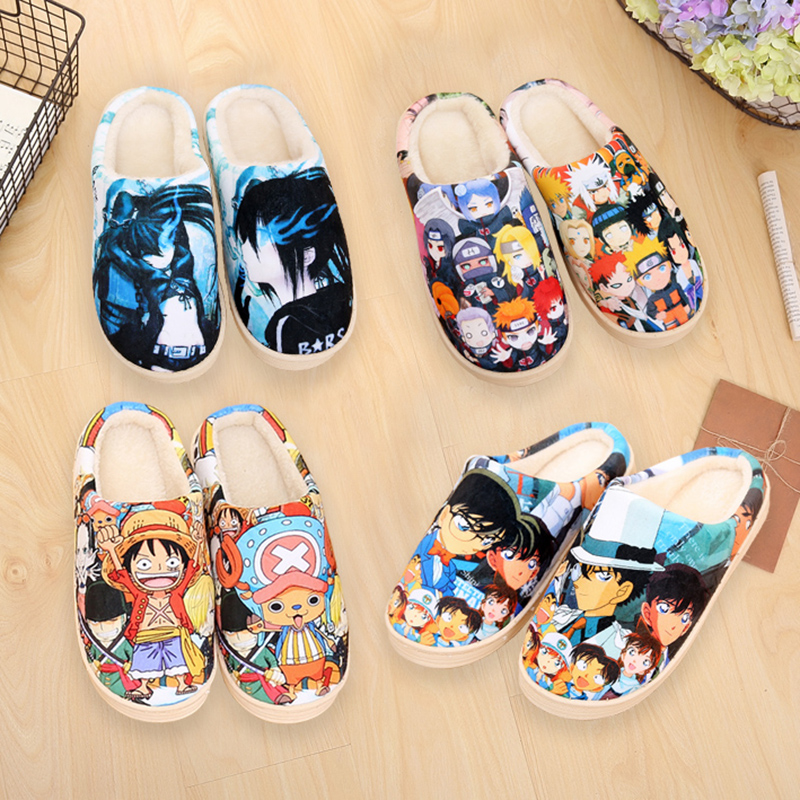 Winter Warm Plush Men Women Shoes Home Slippers Dragon Ball Son Goku Luffy Naruto Pikachu OW Anime Plush Shoes Free Shipping