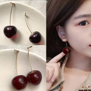 Cute Simulation Red Cherry Sweet Resin Hot Sale Gold Color High Quality For Women Girl