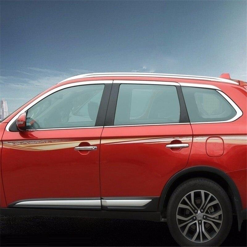 Automovil хром окно снаружи лихой аксессуары Тюнинг автомобилей украшения яркими блестками 16 для Mitsubishi Outlander