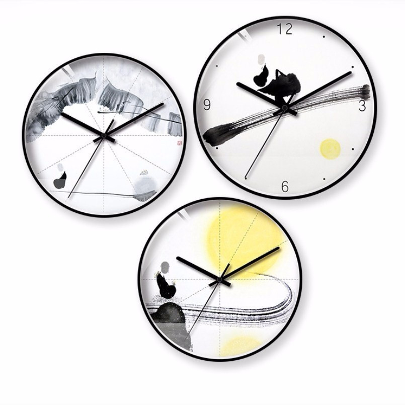 New 3D Wall Clock 30cm 35cm Metal Wall Clock Modern Design Quartz Chinese Style Wall Watch For Home Mute Saati Can Dropshipping in Wall Clocks from Home Garden
