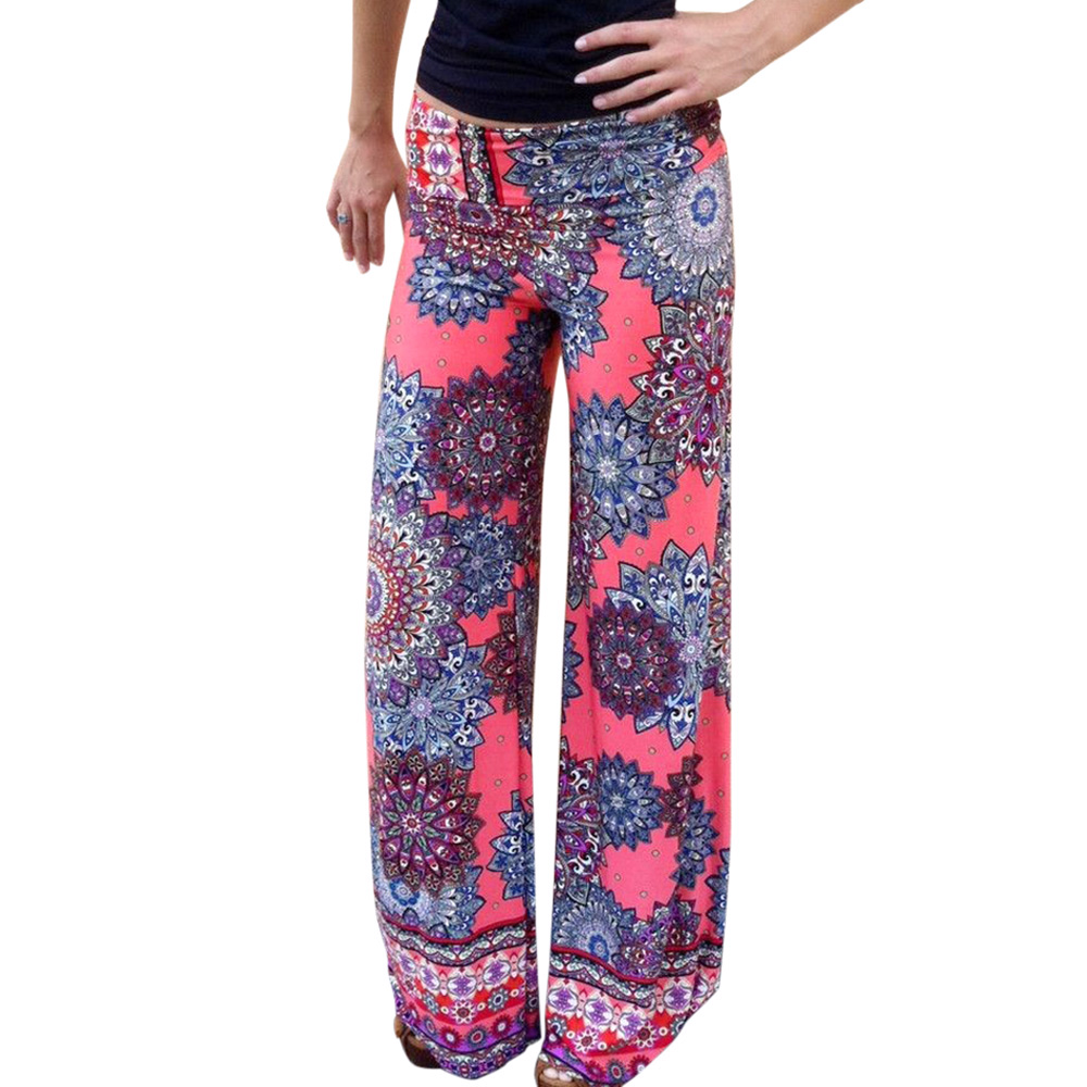 Print   Wide     Leg     Pants   Women Summer 2019 Streetwear Mid Waist Exumas   Pants   Elastic Casual Drawstring Long Loose Trousers On Sale