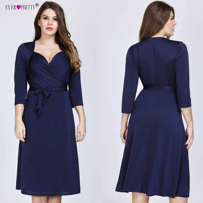Ever Pretty Plus Size Short Evening Dresses 2019 New Arrival Navy Blue A-line  Knee 225000fdfea1