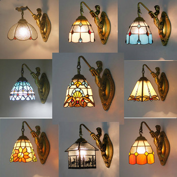 Vintage Wall Lamp Bathroom Mirror Sconces 20 Types Mediterranean Style Colorful Glass Lampshade Ac 90-220v Bracket Light