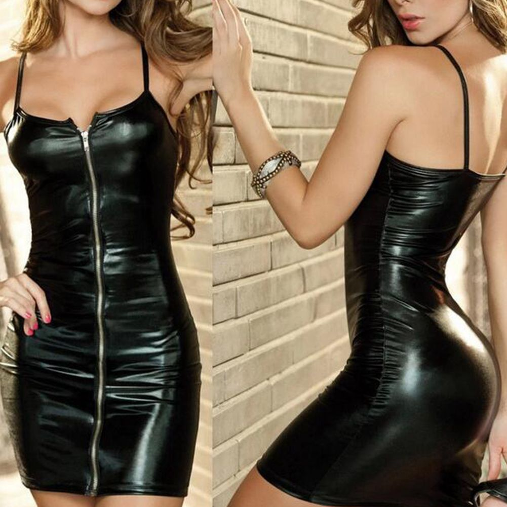 Sexy Lingerie Women Erotic DrESS Faux Leather Female Zip Club Wear Party Apparel Fetish Bondage Costumes