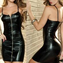 Sexy Lingerie Women Erotic DrESS Faux Leather Female Zip Club Wear Party Apparel Fetish Bondage Costumes(China)