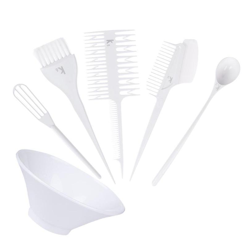 Купить с кэшбэком High Quality 6pcs Hair Dye Tool Kit Salon Hair Coloring Bowl Hair Color Cream Mixer Hair Color Brush Comb Hairdressing Set