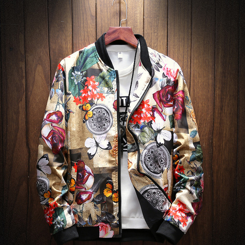 #4374 2019 Spring Stand Collar Vintage Floral Print Coat Men Plus Size 5XL Streetwear Bomber Jacket Mens Fashion