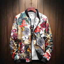 #4374 2019 Spring Stand Collar Vintage Floral Print Coat Men Plus Size 5XL Streetwear Bomber Jacket Mens Fashion stand collar plus size 3d flower and leopard print jacket