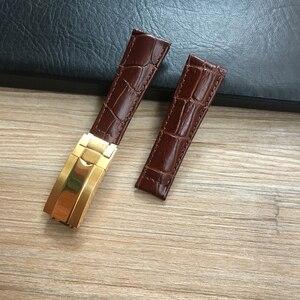 Image 4 - Bracelet de montre en cuir véritable à motif Crocodile, 20mm, noir vert marron bleu, pour montre de rôle Daytona Submariner GMT RX