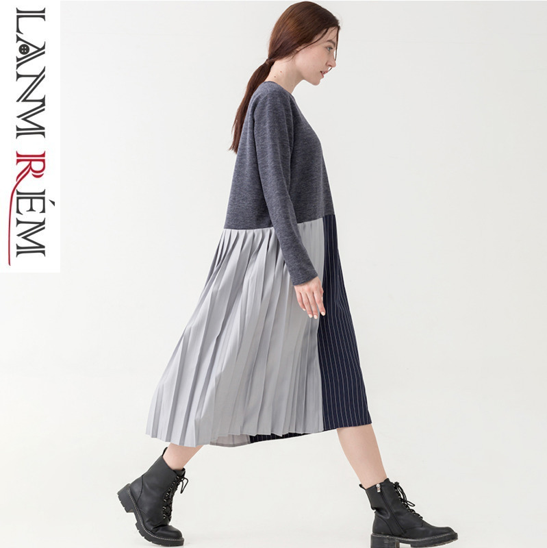 LANMREM 2019 Spring Women Splice Joint Pleated Hit Color Pullover Round Collar Dress Female Long Sleeve  Autumn Clothing TB111