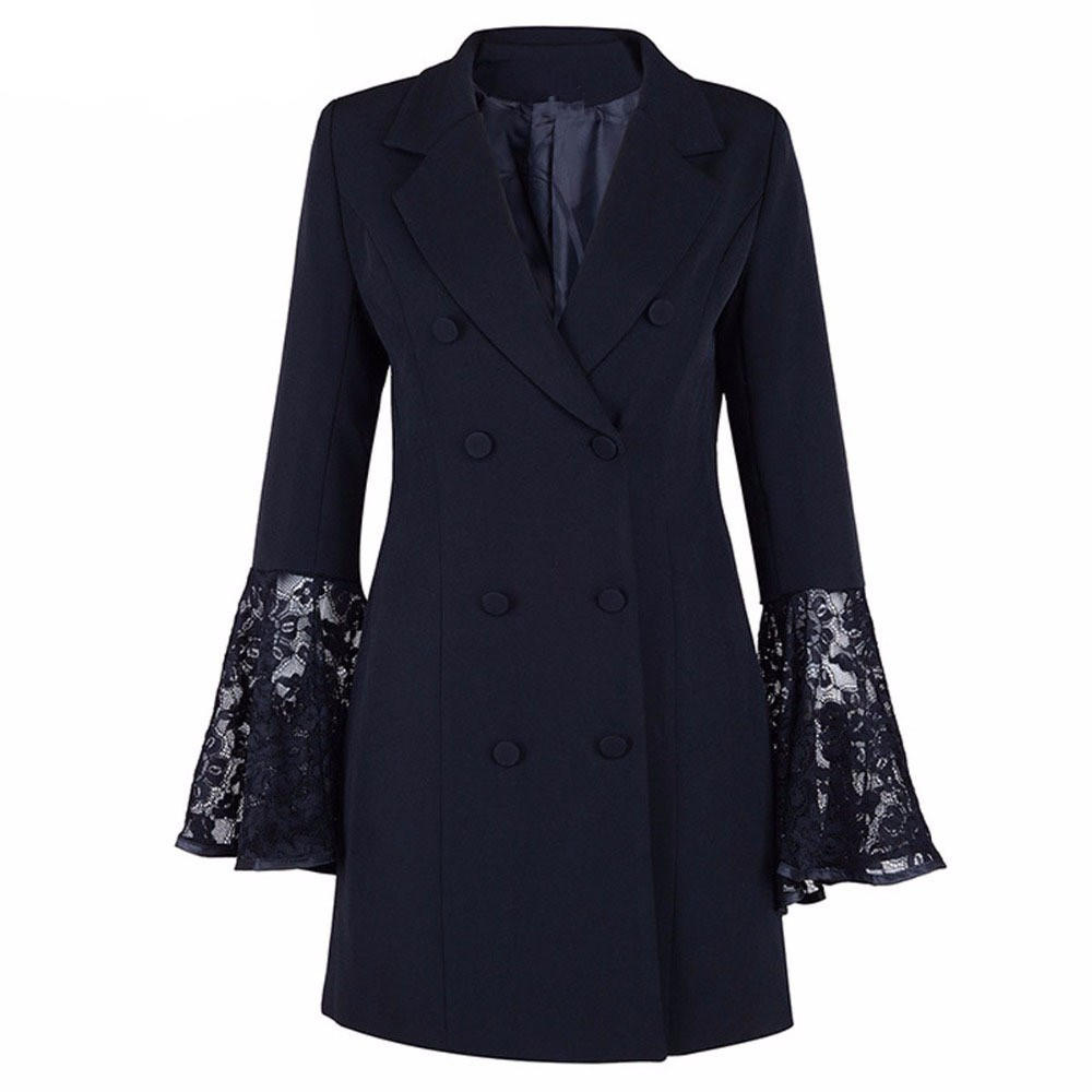 2019 Spring Fashion Hollow Out Lace Flare Sleeve Coat For Women Tunic Plus Size Blazer V Neck Double Breadsted Suit