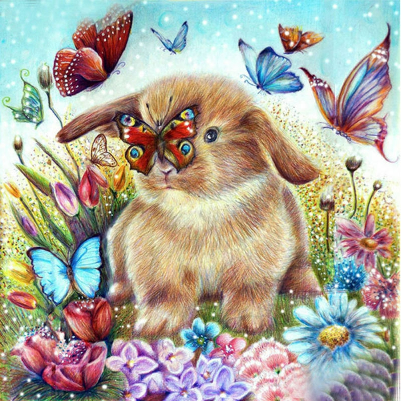 Bunny Butterfly Friends 5D Diamond Painting Full Drill For Home Decor 30 X 30Cm