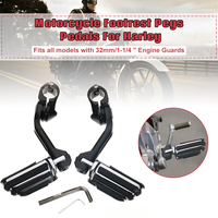 Aluminum alloy 32mm/1.25 Pair Motorcycle Rear Black Long Footrest Pegs Pedals For Harley with Allen Keys 1 1/4