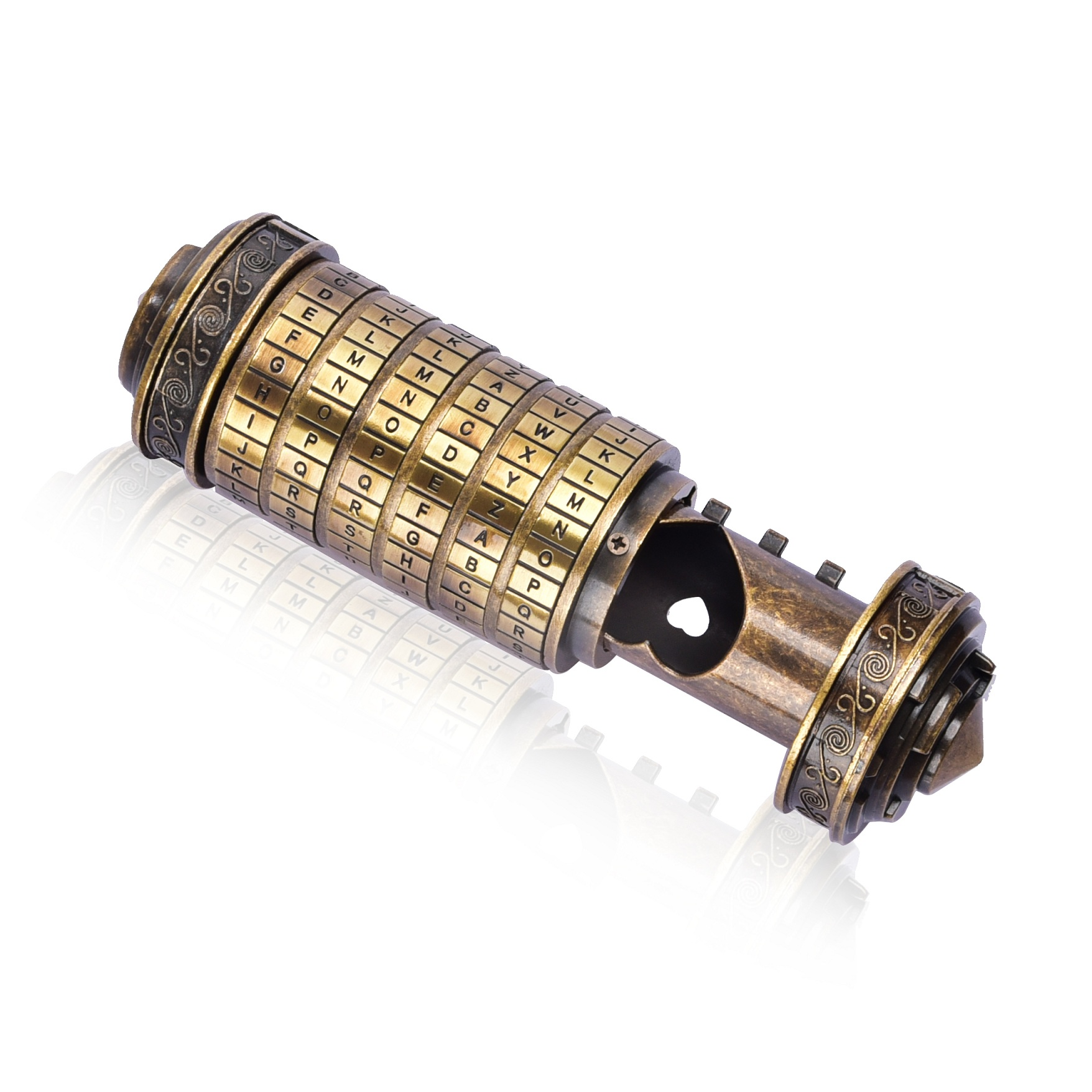 Mini Da Vinci Code jouets en métal Cryptex verrouille des cadeaux de mariage innovants cadeau saint valentin lettre mot de passe accessoires de chambre d'évasion - 3