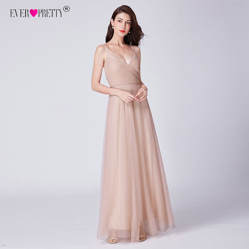 Elegant   Bridesmaid     Dresses   Long Ever Pretty Spaghetti Straps A-Line V-Neck Pink Chiffon   Bridesmaid     Dresses   For Wedding Guests