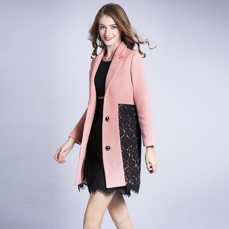 Women's New double sided cashmere coat lace long single breasted woolen coat pink elegant cosy warm slim overcoat - 2