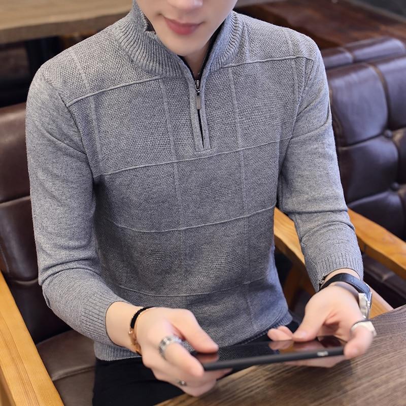 2019 Men's Sweaters Autumn Winter Warm Cashmere Wool Zipper Pullover Sweaters Man Casual Knitwear Plus Size M-XXXL