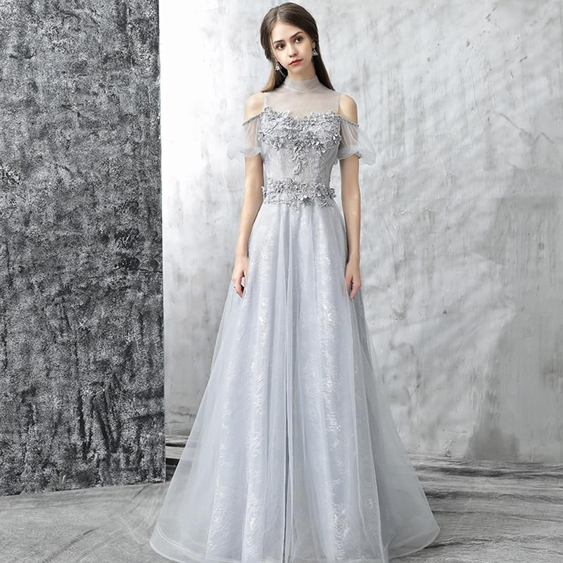 Vivian's Bridal Romantic Lithe Illusion Mesh Fluffy Sleeve Long   Evening     Dress   High Neck Back Cut-out A-line Women Chiffon   Dress