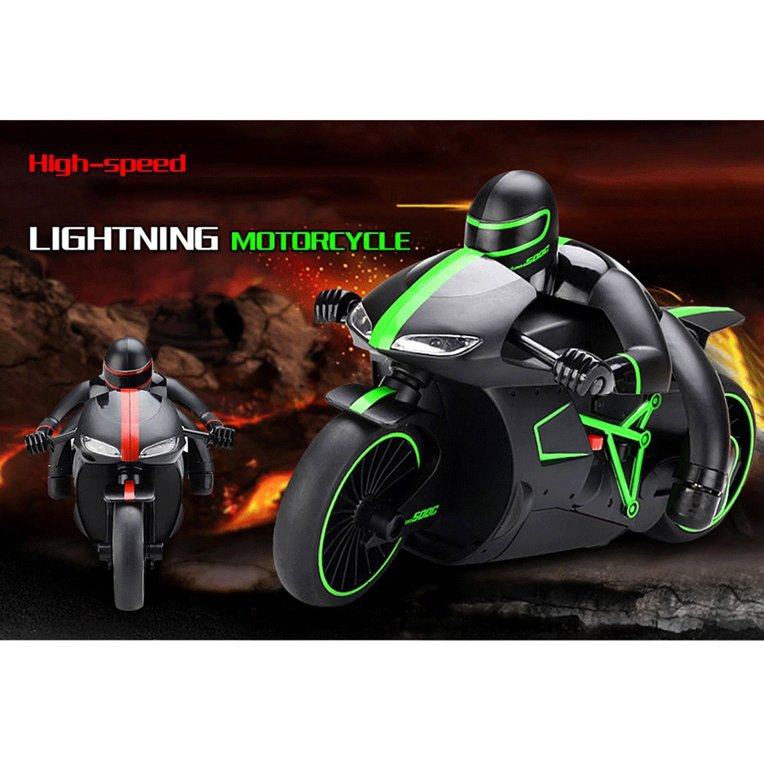 20KM H Speed 4 Channels Led Light Motorcycle RC Racing Drift Motorbike Two wheeled Motor Vehicle
